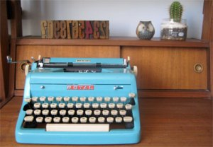 Royal Typewriter - Turquoise (1950s) at Three Potato Four